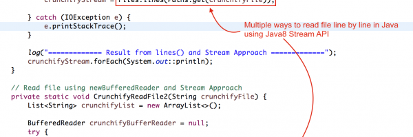 How to Read a File line by line using Java 8 Stream – Files.lines() and Files.newBufferedReader() Utils