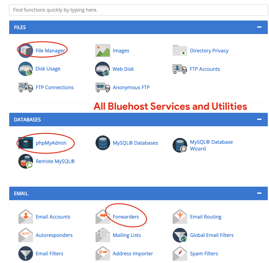 All Bluehost Services and Utilities