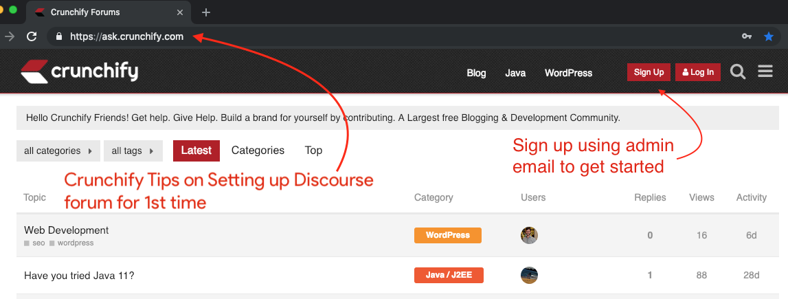 Crunchify Tips for Setting up Discourse Forum for 1st time
