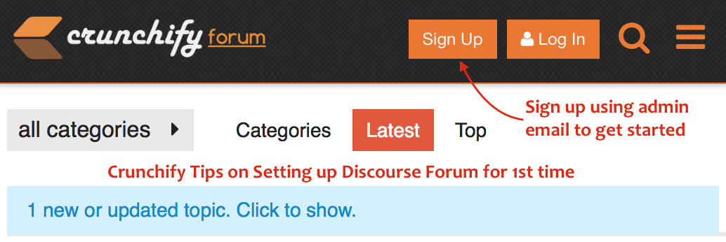 Crunchify Tips on Setting up Discourse Forum for 1st time