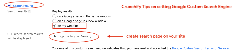 Crunchify Tips on setting Google Custom Search Engine