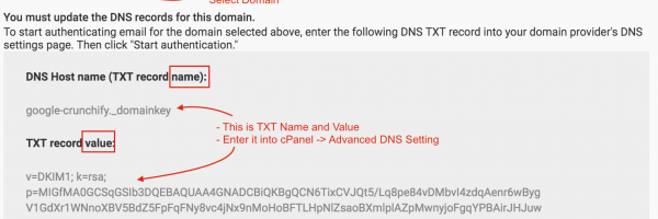 How to Configure Google Authentication TXT records successfully in cPanel for DKIM (DomainKeys Identified Mail)