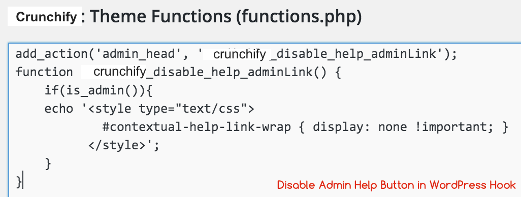 Disable Help Menu in WordPress Crunchify Tips