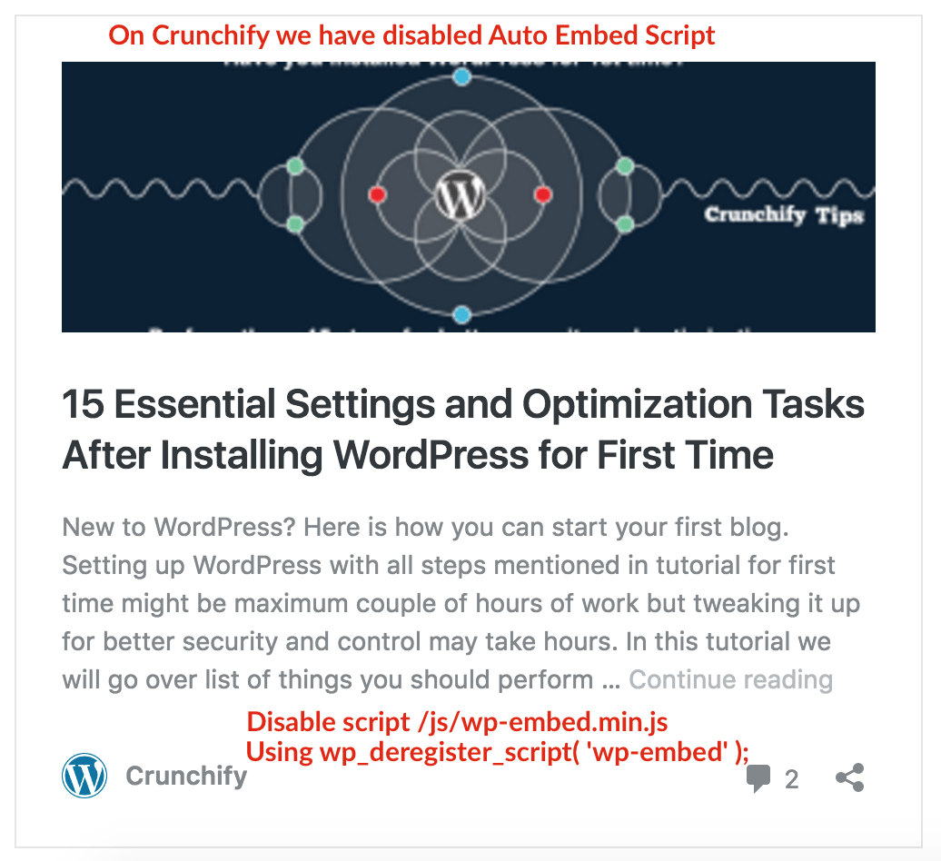 Disabled Auto Embed Script for WordPress - Crunchify Tips
