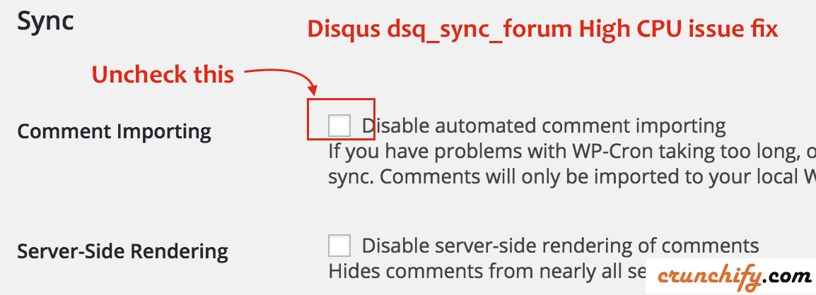 Disqus dsq_sync_forum High CPU issue fix