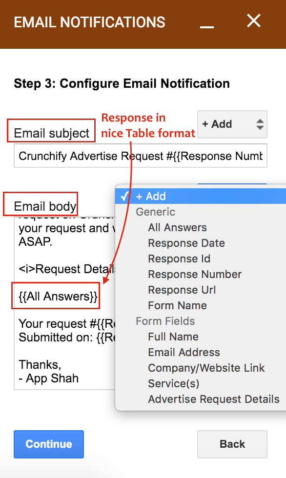 google form notification to different email