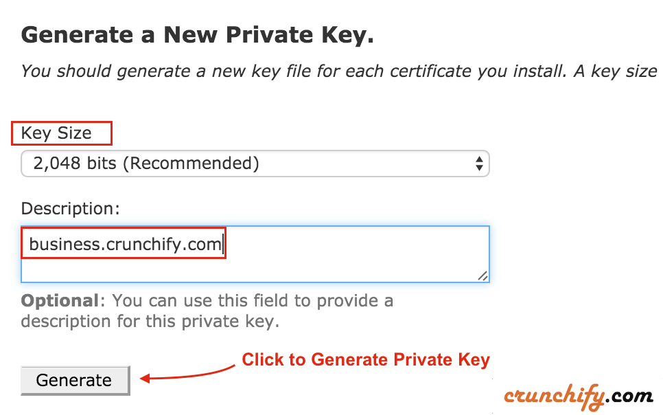 Generate New Private Key for your SSL cert