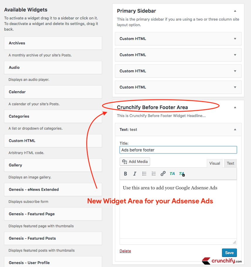 Genesis Framework - add an Extra Widget Section Before Footer Widget Area