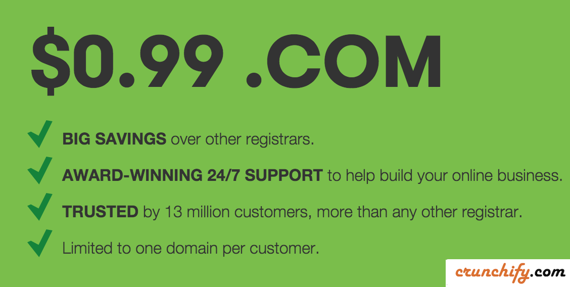 GoDaddy-99-cents-.com-domain-deals-Crunchify