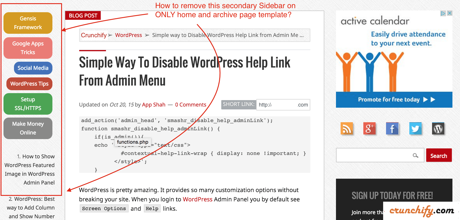 Remove-Secondary-Sidebar-on-Home-and-Archive-Page-Crunchify