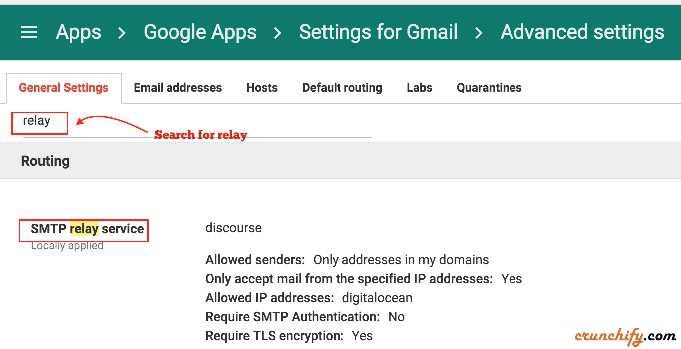 How to setup email for Discourse Forum with Google Apps SMTP-relay