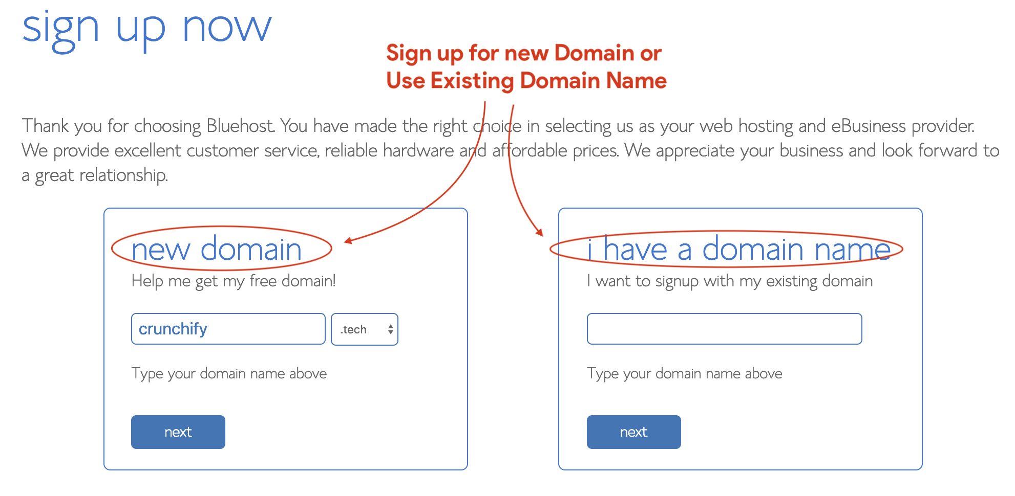 Sign up for Bluehost - Register new Domain