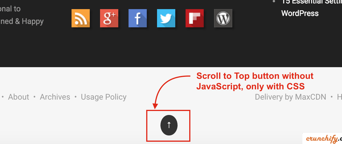Simple Scroll to Top Button in WordPress Footer without any JavaScript loading – Genesis Framework Tips