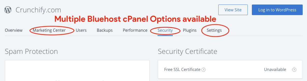 There are multiple Bluehost CPanel Options available