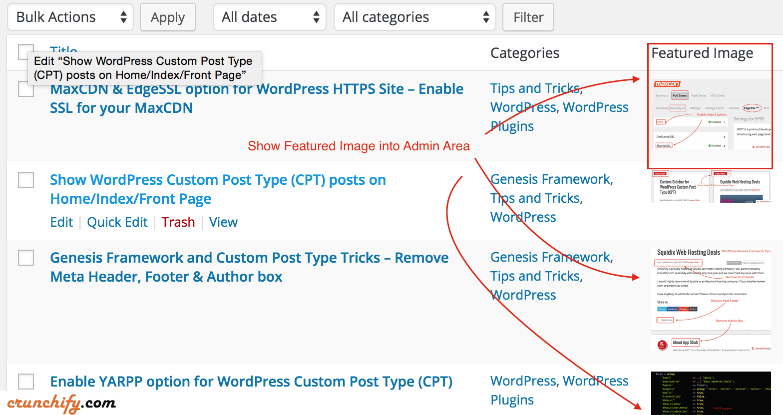 How to Show WordPress Featured Image in WordPress Admin