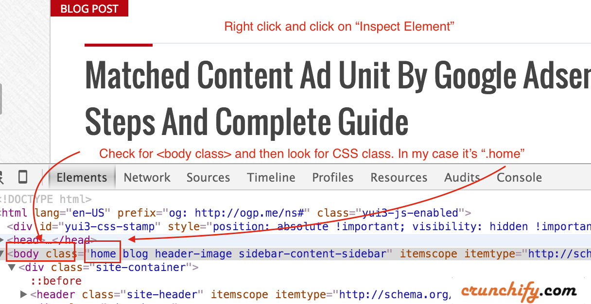 WordPress home page find CSS class name for your post Crunchify.com Tips