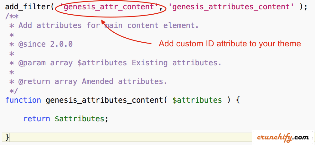 genesis_attr_content filter Crunchify Tips