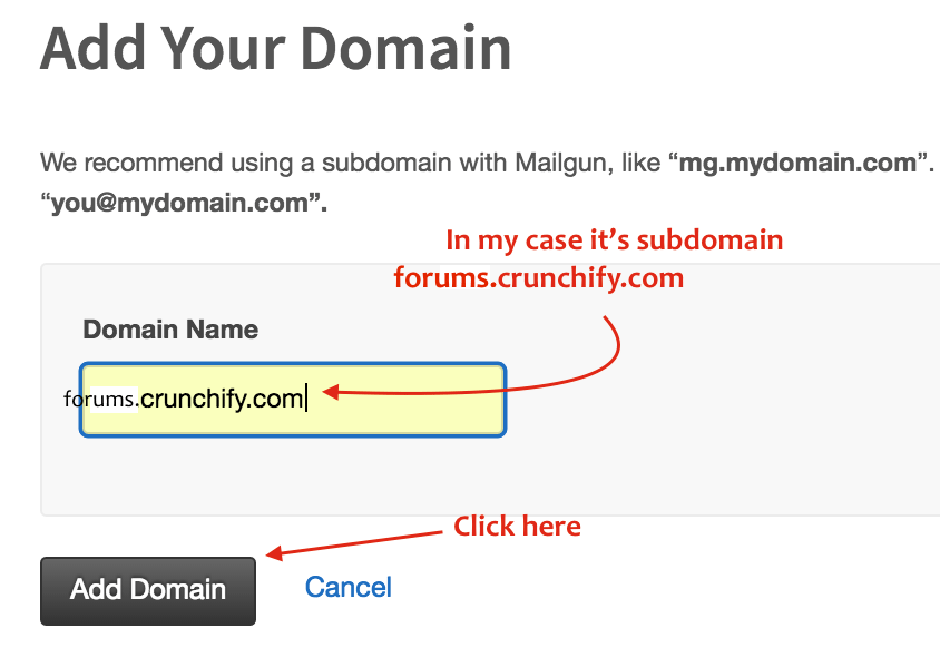 Add your domain to Mailgun Admin Panel - Crunchify Forums