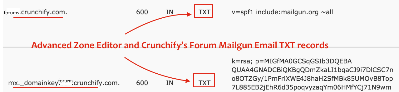 Advanced Zone Editor and Forums.crunchify.com Mailgun Email TXT records