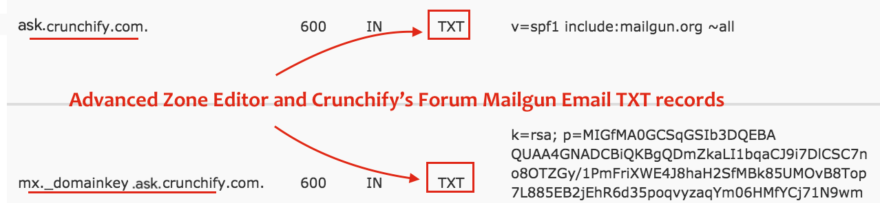 Advanced Zone Editor and ask.crunchify.com Mailgun Email TXT records