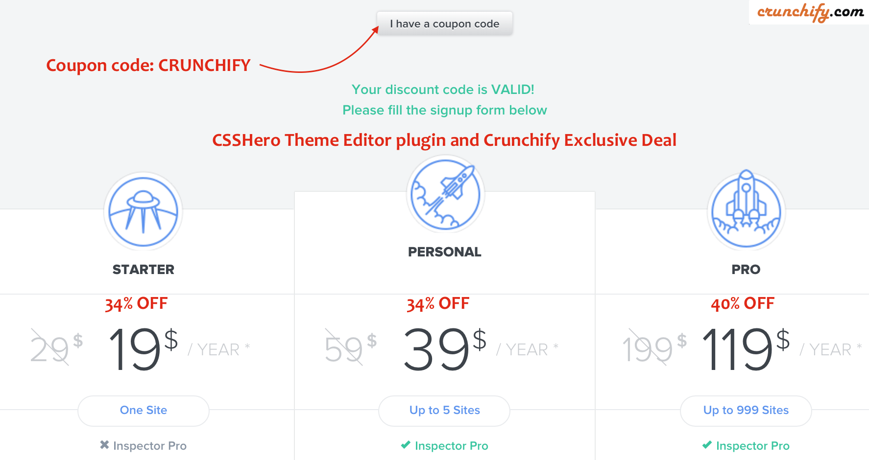 CSSHero Theme Editor plugin and Crunchify Exclusive Deal code-CRUNCHIFY
