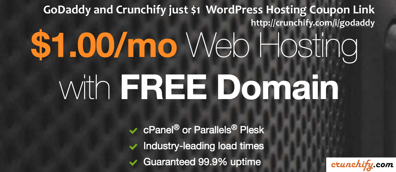 Godaddy and Crunchify 1 dollar WordPress Hosting Coupon Link