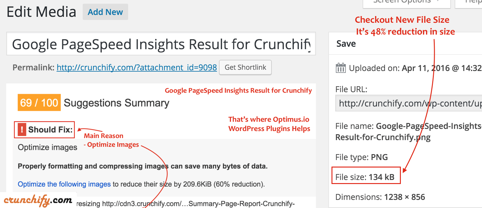 Image size after Uploading to WordPress - Optimus Plugin Benefits