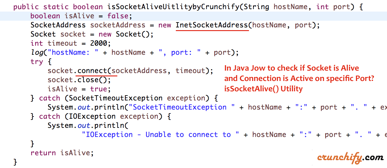 In Java Jow to check if Socket is Alive and Connection is Active on specific Port? isSocketAlive() Utility