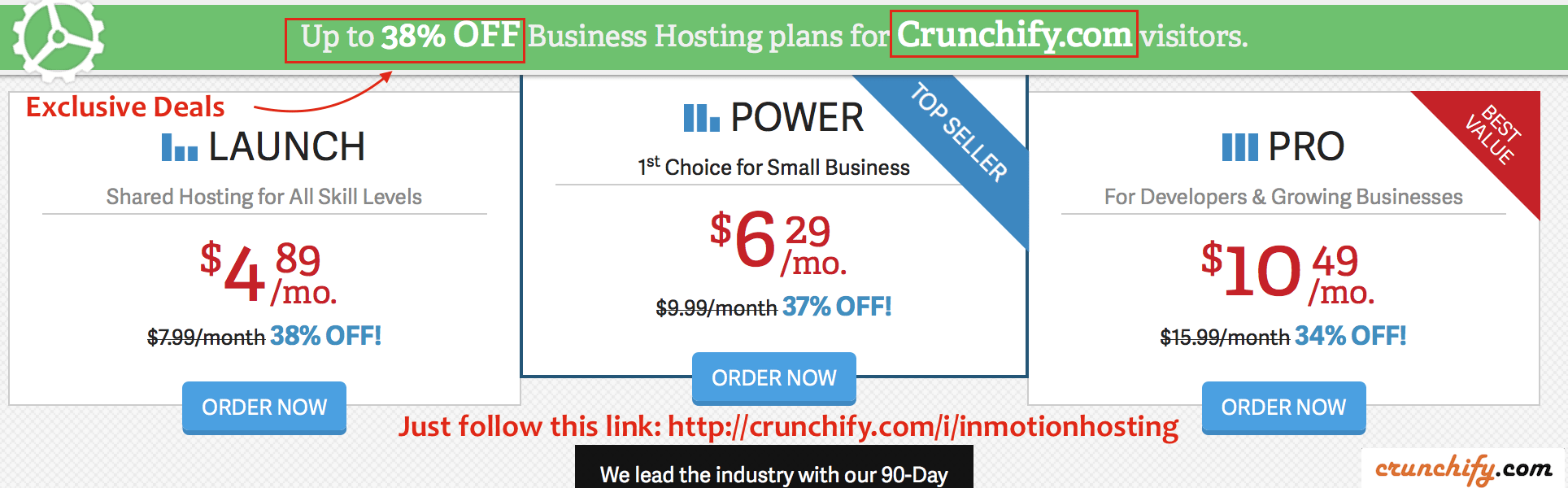Inmotionhosting 38% off Web Hosting Plan - Crunchify Deals