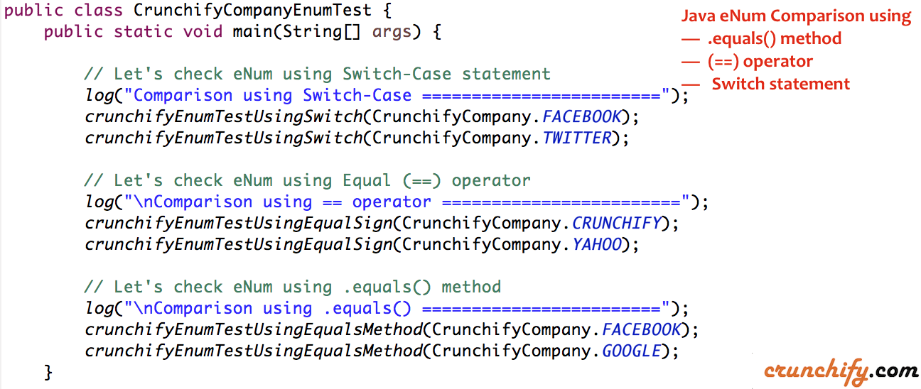 Java eNum Comparison using equals(), == operator and Switch statement Example
