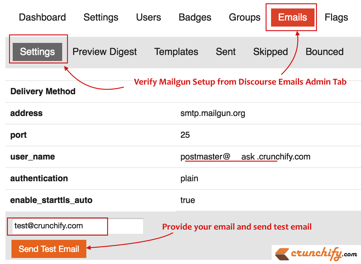 Verify Mailgun Setup from-Discourse ask.crunchify.com Tips