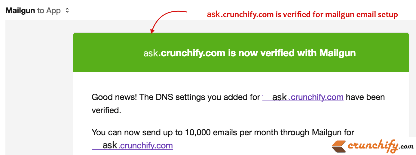 ask.crunchify.com is verified for mailgun email setup