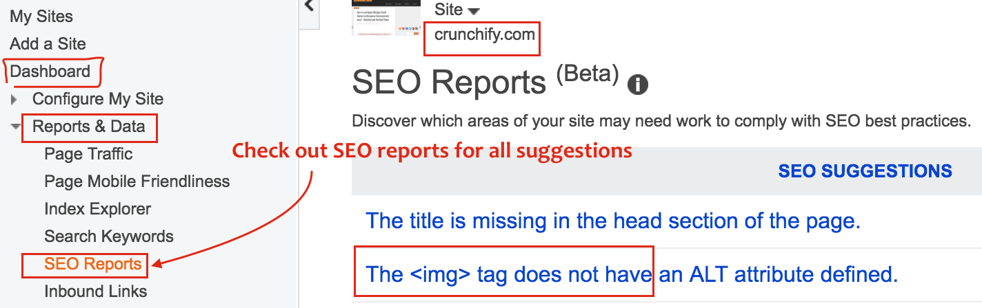 Bing Webmaster SEO Report Tab with SEO Suggestions