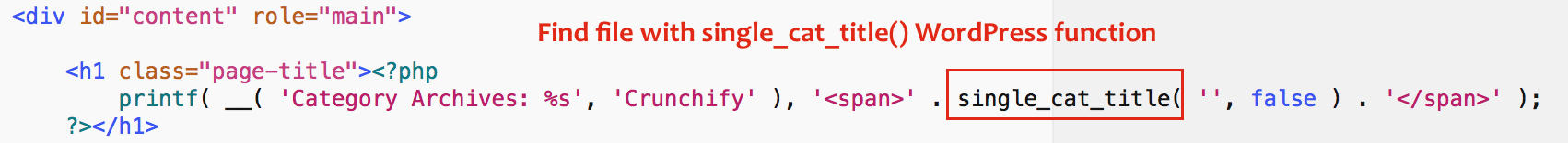 Find file with single_cat_title WordPress function