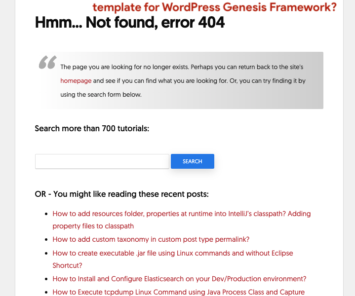 How to modify 404 Page Not Found template for WordPress Genesis Framework