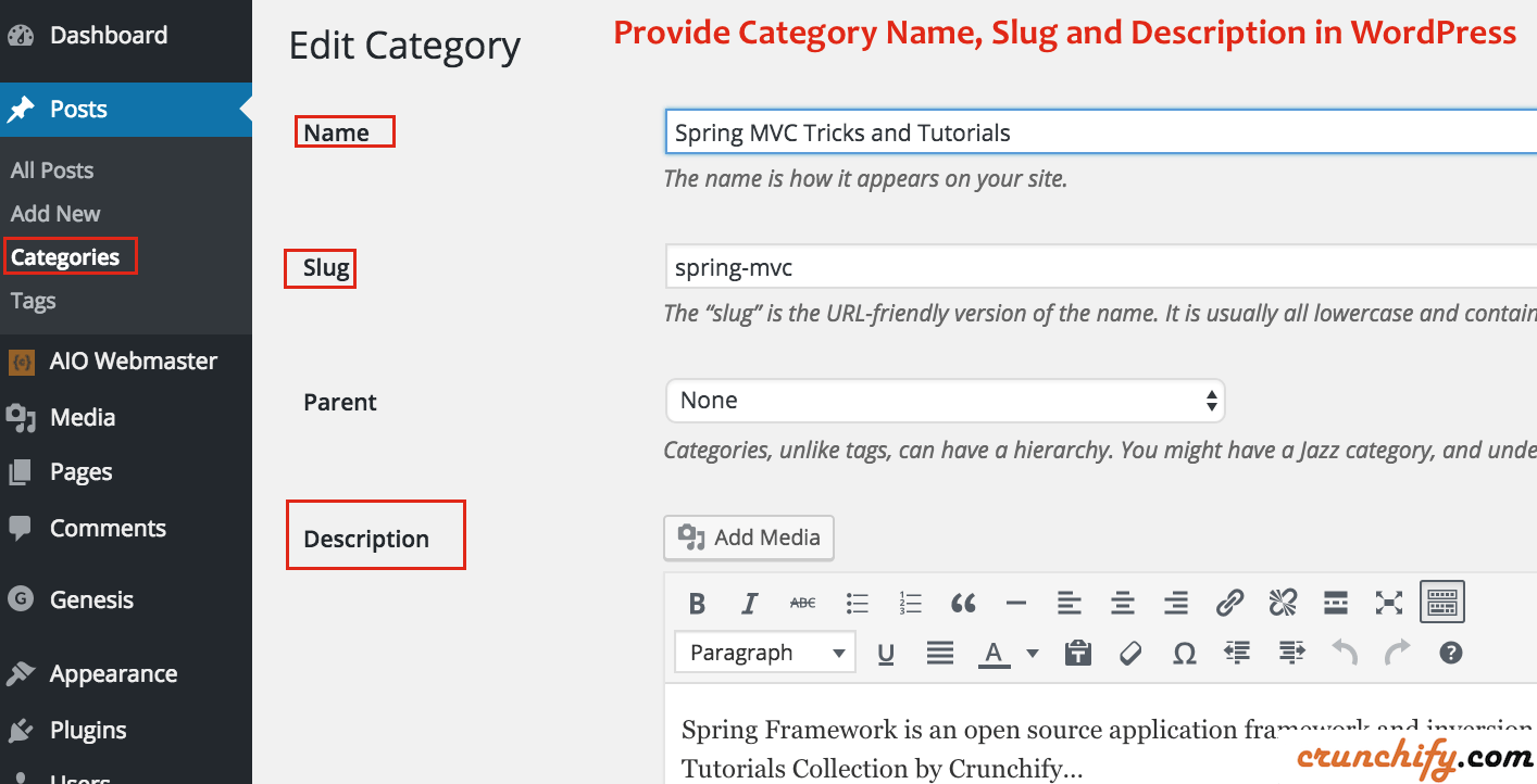 Provide Category Name, Slug and Description in WordPress- Crunchify Tips