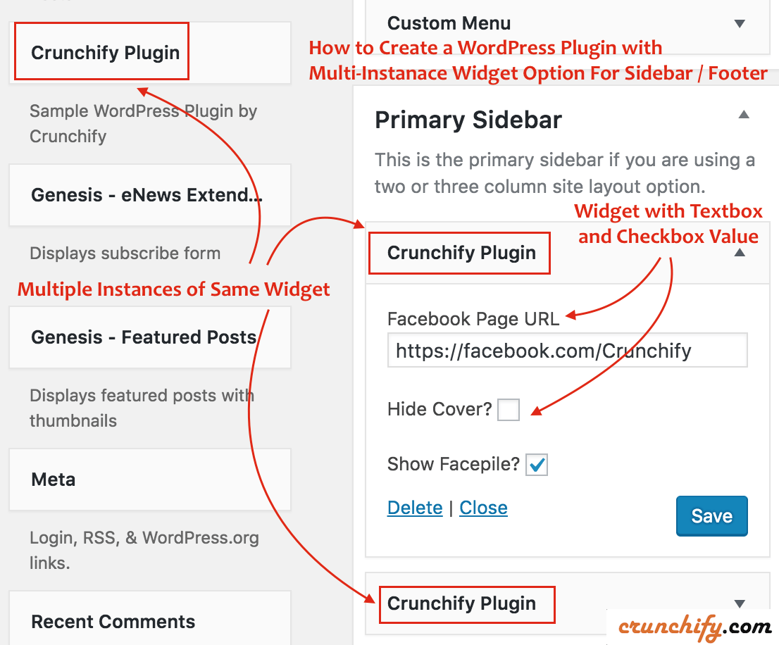 WordPress Multi-Instance Widget Plugin - Sample Code - Crunchify Tips