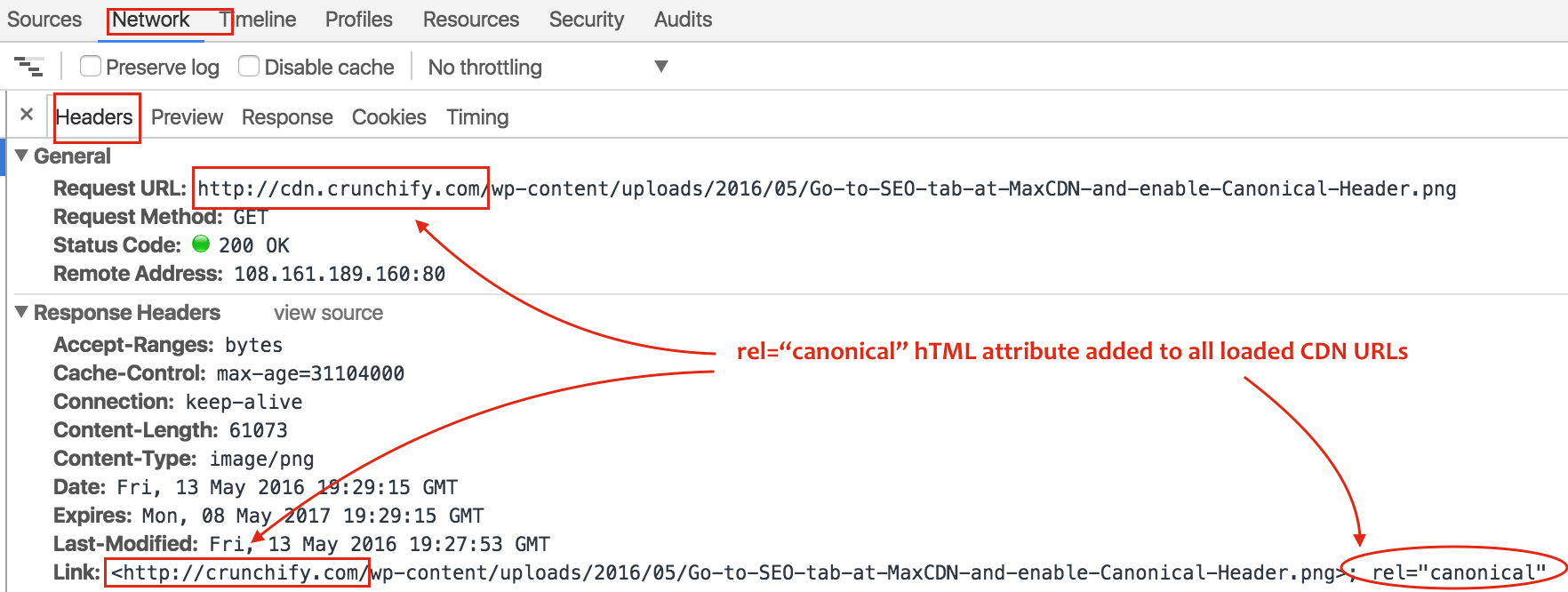 rel=canonical HTML attribute added to all loaded CDN URLs