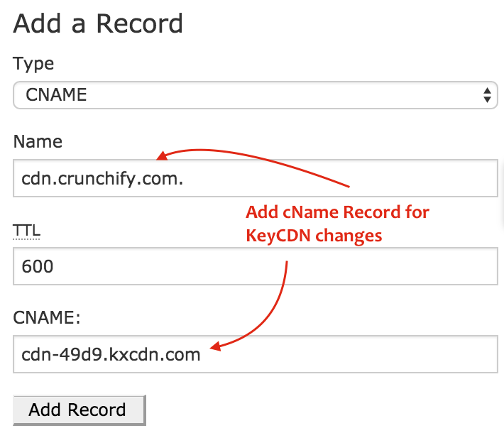 Add cName Record for KeyCDN changes