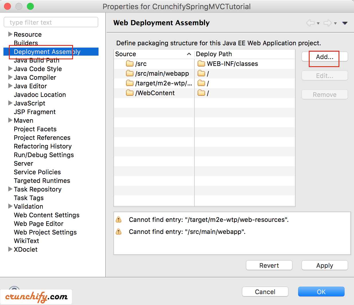 Eclipse Select Web Deployment Assembly
