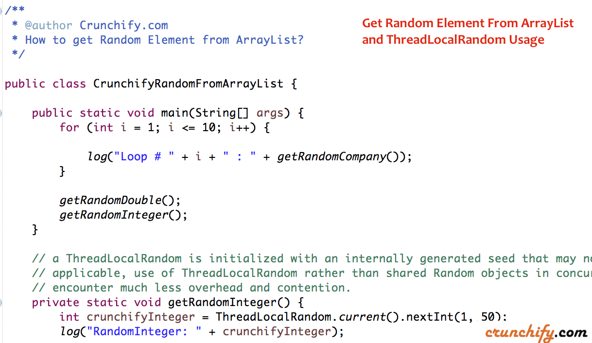 Get Random Element From ArrayList and ThreadLocalRandom Usage