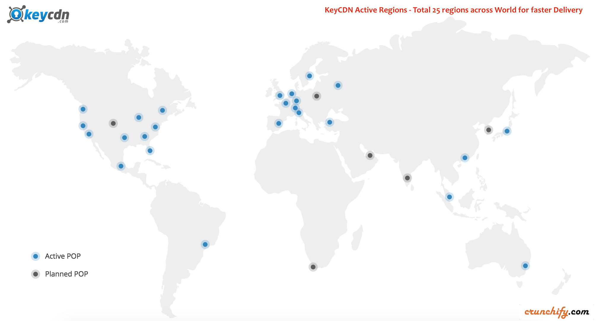 KeyCDN Active Regions - Total 25 regions across World for faster Delivery