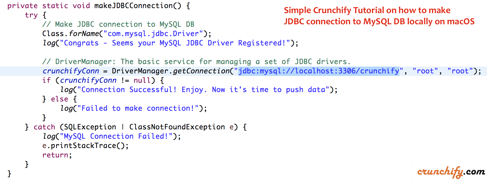 Simple Crunchify Tutorial on how to make JDBC connection to MySQL DB locally on macOS