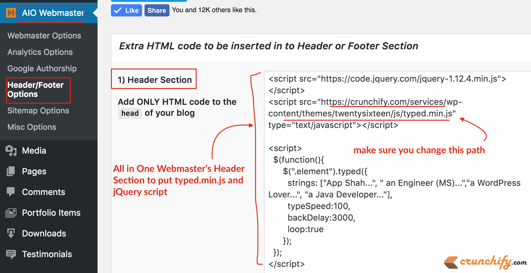 All in One Webmaster Header Section to put typed.min.js and jQuery script