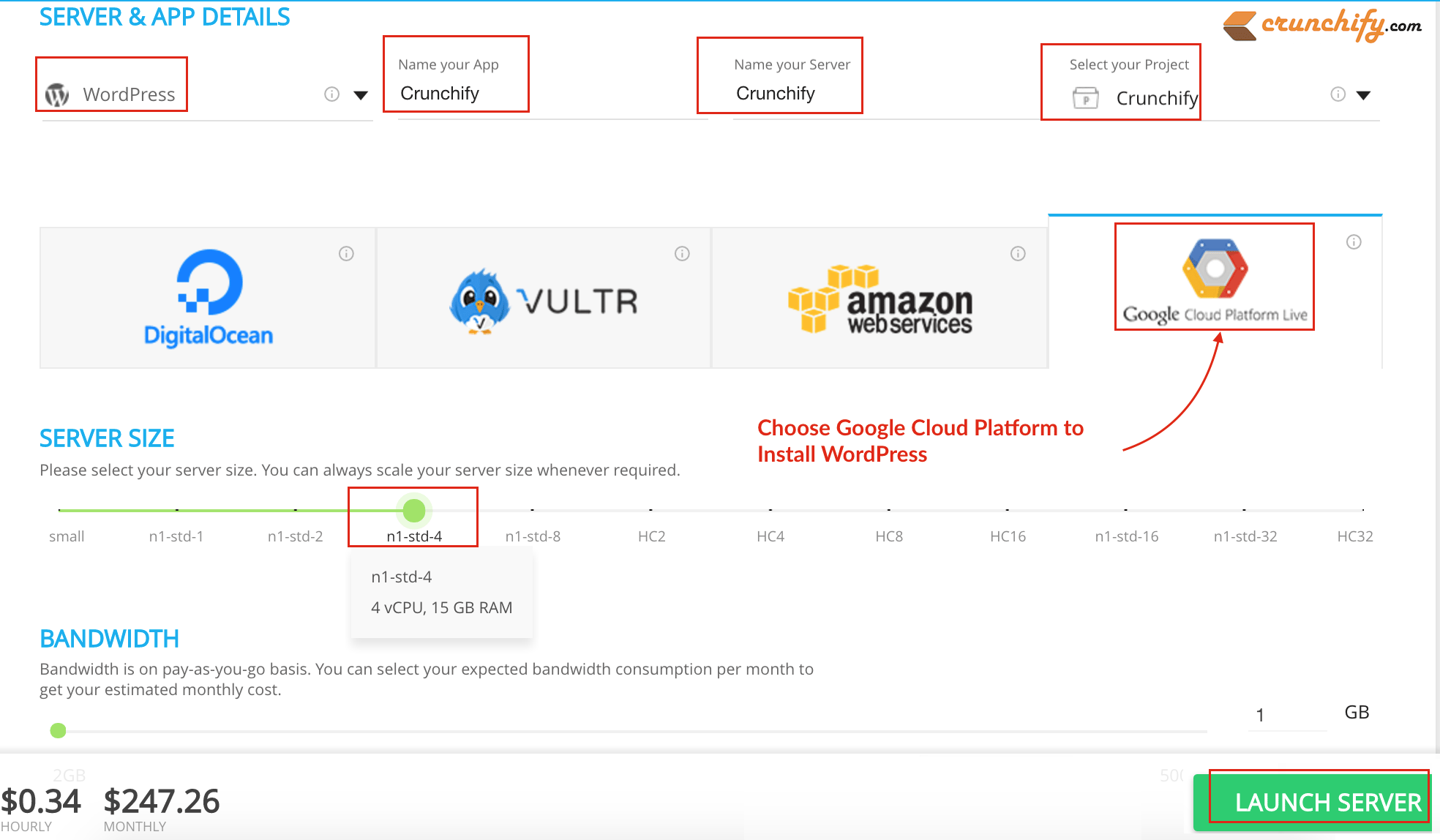 Choose Google Cloud Platform to Install WordPress