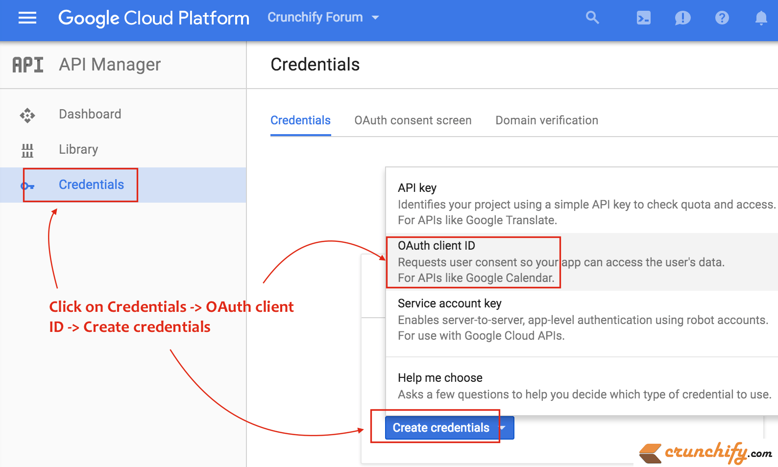Click On Credential and Create Credentials - Choose OAuth Client ID