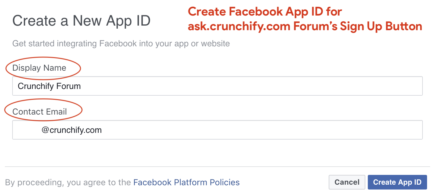 Create Facebook App ID for ask.crunchify.com Forum