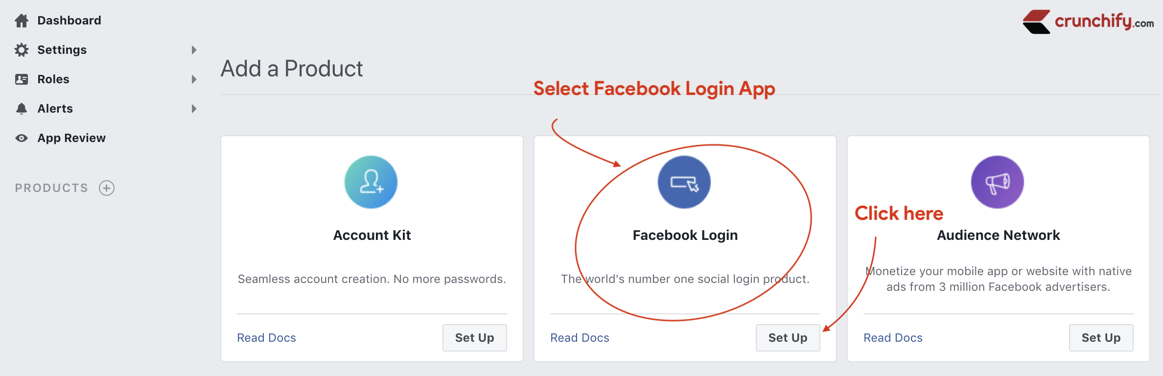 Create Facebook Login Product - create Sign Up Application