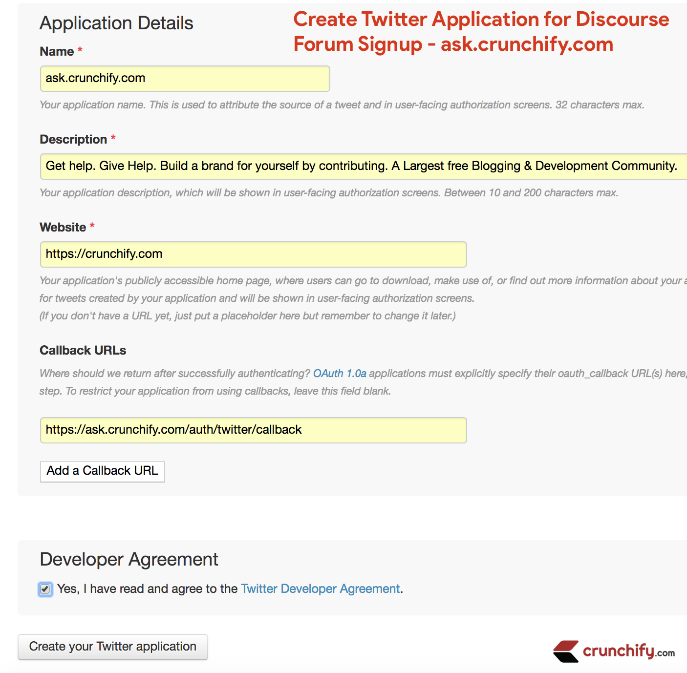 Create Twitter Application for Discourse Forum Signup - ask.crunchify.com