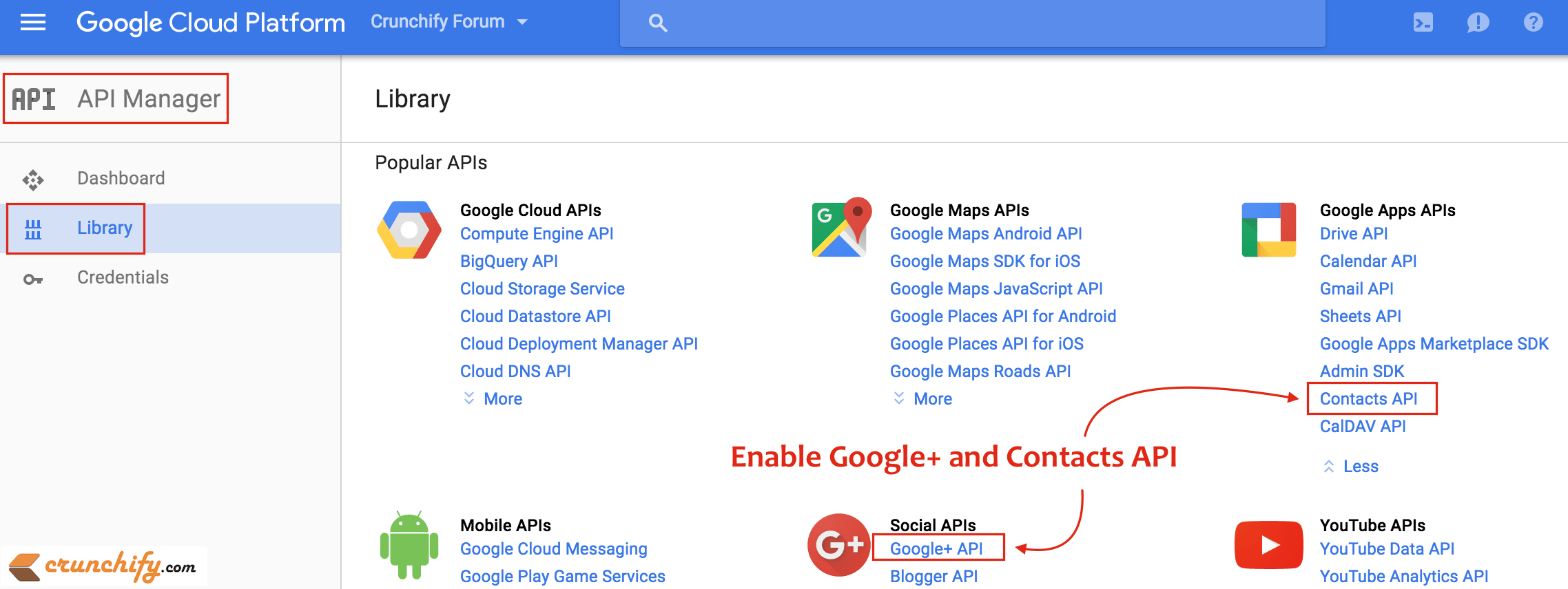 Enable Google+ API and Contact API in Google Cloud Console - Crunchify Tips